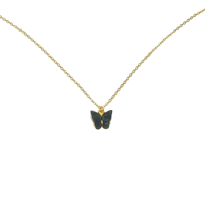 Black Pearl Butterfly Necklace, 14K Gold