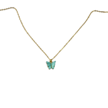 Load image into Gallery viewer, Light Blue Pearl Butterfly Necklace, 14K Gold