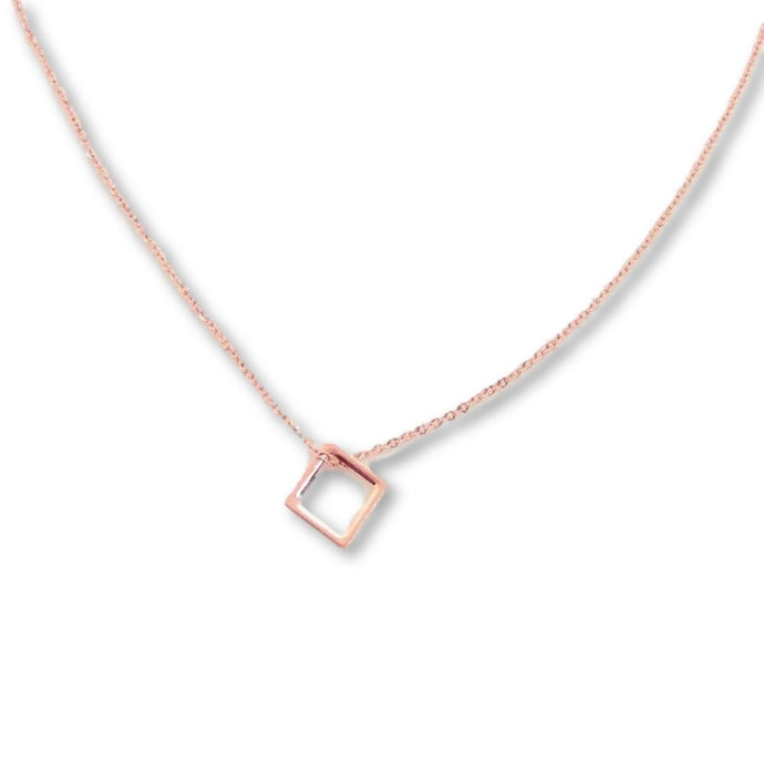 Rose Gold Open Square Necklace - AR TodayCharm Jewelry Company
