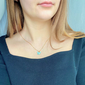 Light Blue Pearl Butterfly Necklace, 14K Gold