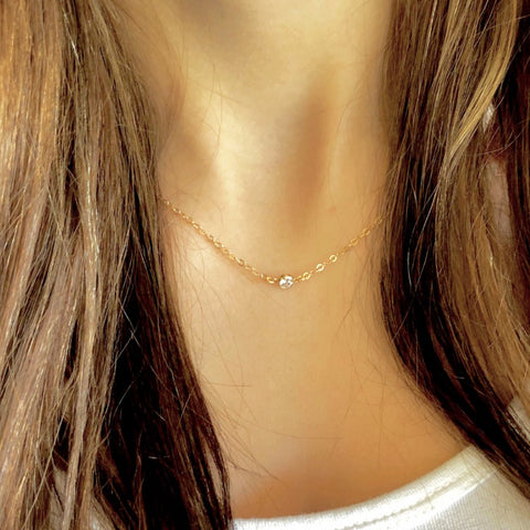 Gold Micro Mini CZ Dot Choker - AR TodayCharm Jewelry Company