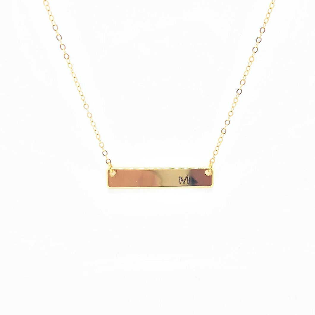 Gold Nameplate Bar Necklace - AR TodayCharm Jewelry Company