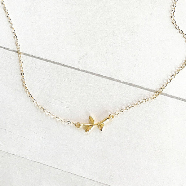 Olive Leaf Branch Necklace - AR TodayCharm Jewelry Company