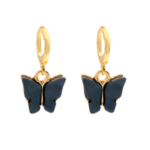 Black Huggy Hoop Butterfly Earrings