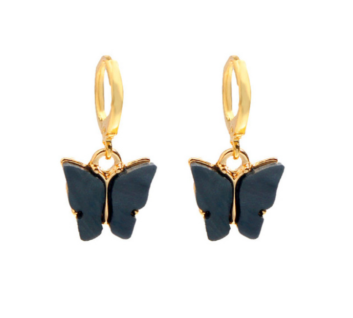 Black Butterfly Drop Earrings - AR TodayCharm Jewelry Company