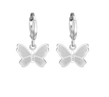 Load image into Gallery viewer, Silver Butterfly Drop Earrings - AR TodayCharm Jewelry Company