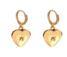 Load image into Gallery viewer, Gold Heart Locket Drop Earrings - AR TodayCharm Jewelry Company