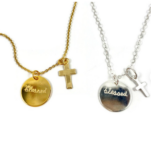 Hand Stamped Blessed Disk Necklace - 14 Inch / Gold with Tiny Cross - 14 Inch / Silver with Tiny Cross - 15 Inch / Gold with Tiny Cross - 15 Inch / Silver with Tiny Cross - 16 Inch / Gold with Tiny Cross - 16 Inch / Silver with Tiny Cross - 17 Inch / Gold with Tiny Cross - 17 Inch / Silver with Tiny Cross - 18 Inch / Gold with Tiny Cross - 18 Inch / Silver with Tiny Cross