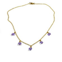 Load image into Gallery viewer, Violet Crystal Butterfly Choker Necklace, 14K Gold