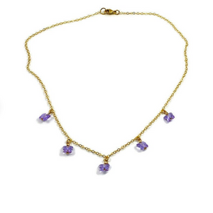 Violet Crystal Butterfly Choker Necklace, 14K Gold