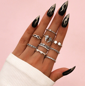 Silver Amour Boho Ring Set