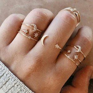 Gold Star Moon Boho Ring Set