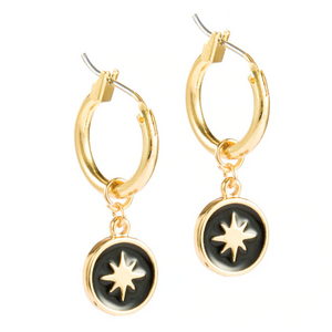 Black & Gold Star Hoop Earrings
