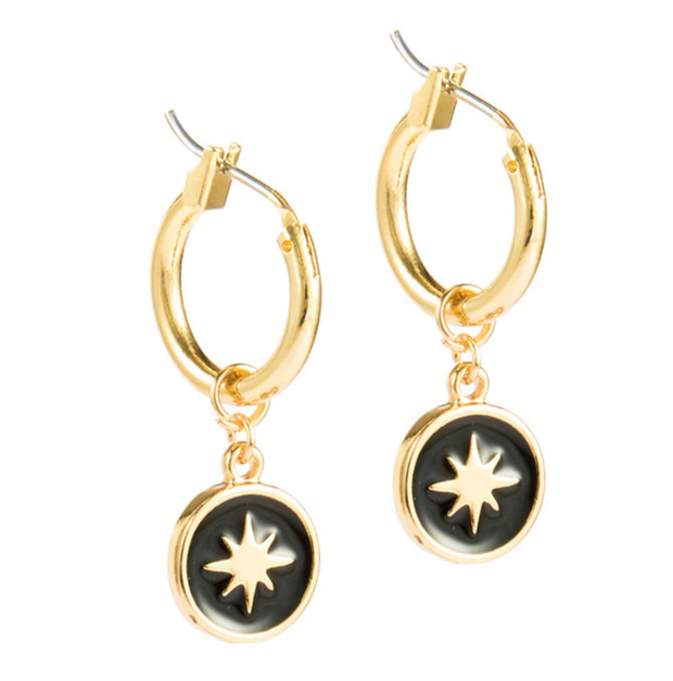 Black & Gold Star Hoop Earrings 1
