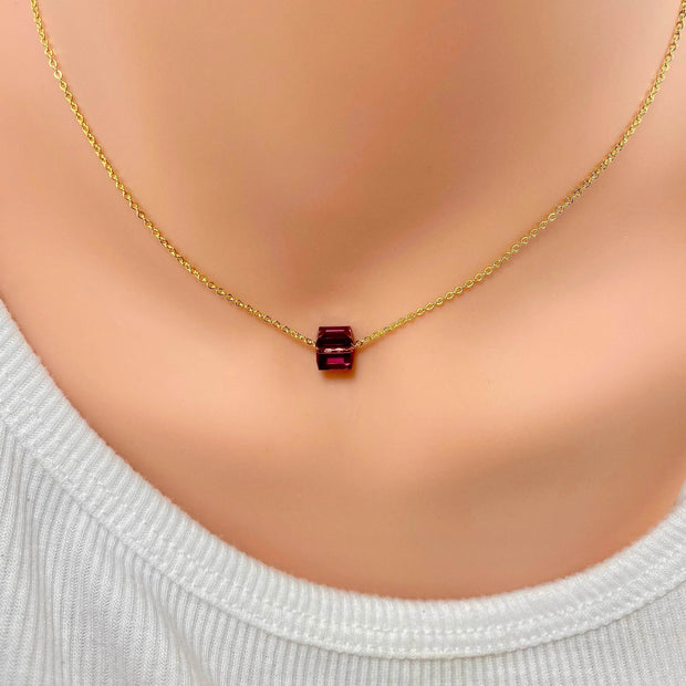 Amethyst Crystal Cube Necklace, 14K Gold 1