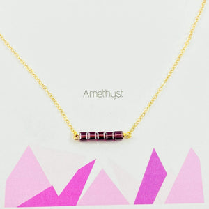 Amethyst Cube Bar Necklace