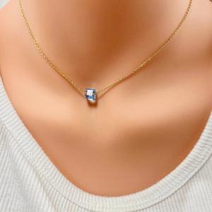 Aquamarine  Crystal Cube Necklace - AR TodayCharm Jewelry Company