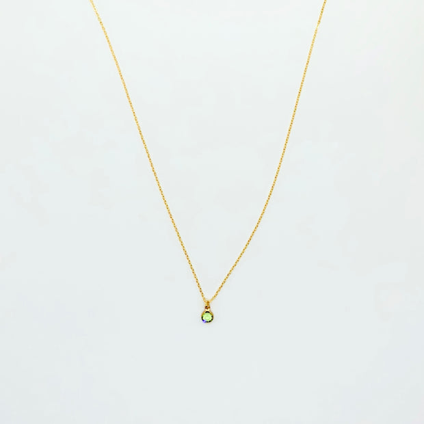 August Peridot Birthstone Necklace, 14K Gold 1