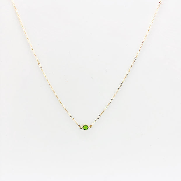 August Peridot Crystal Necklace, 14K Gold 1