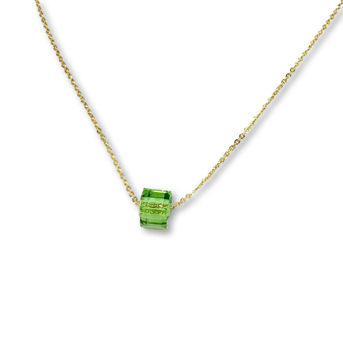 Peridot Crystal Cube Necklace - AR TodayCharm Jewelry Company