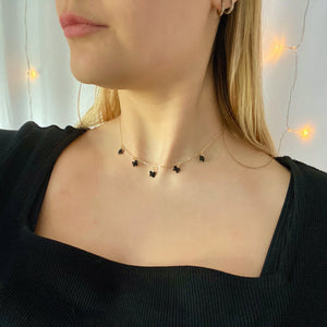 Black Onyx Butterfly Choker Necklace, 14K Gold