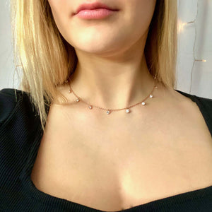 Alana CZ Necklace, 14K Rose Gold