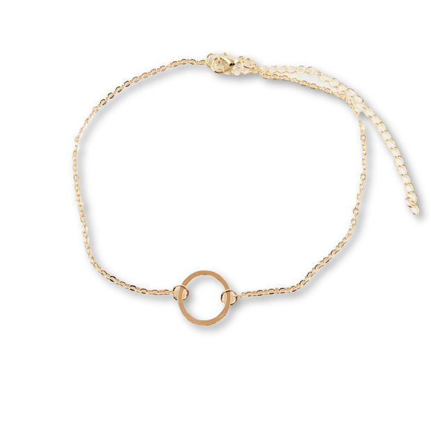 Center Circle Choker Necklace, Gold Plate 1