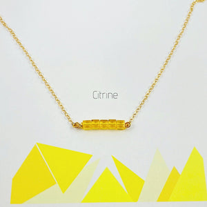 Citrine Cube Bar Necklace 14K Gold