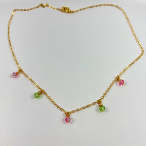 Pink & Green Cristal Choker Necklace - AR TodayCharm Jewelry Company