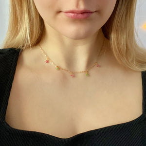 Pink Green Crystal Choker Necklace