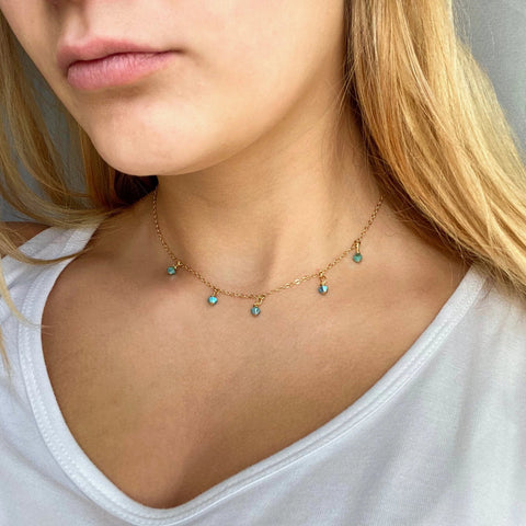 Turquoise Cristal Choker Necklace - AR TodayCharm Jewelry Company