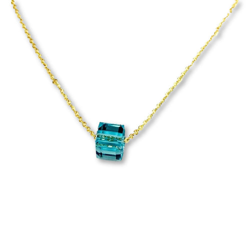 Turquoise Crystal Cube Necklace - AR TodayCharm Jewelry Company