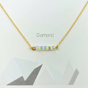 Crystal AB Diamond Cube Bar Necklace 14K Gold