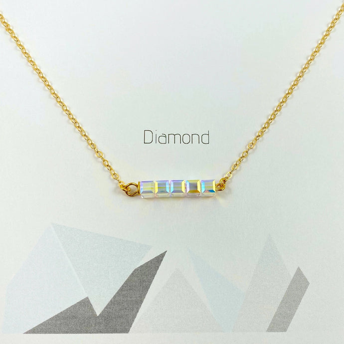 Crystal AB Diamond Cube Bar Necklace - AR TodayCharm Jewelry Company