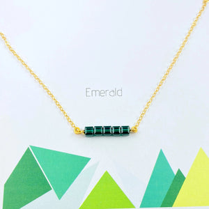 Emerald Cube Bar Necklace, 14K Gold