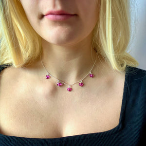 Fuchsia Crystal Heart Necklace - AR TodayCharm Jewelry Company