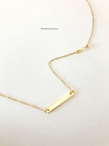 Midi Crystal Accent Bar Necklace - AR TodayCharm Jewelry Company