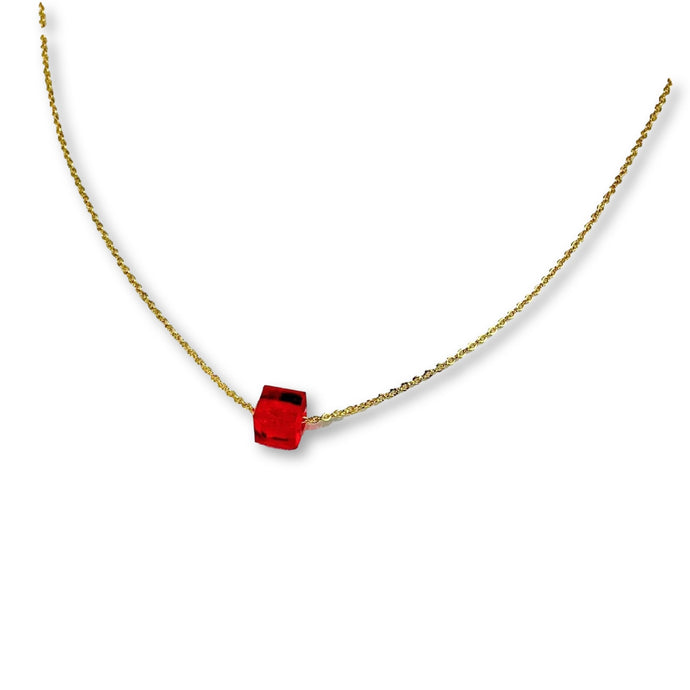 Ruby Red Crystal Cube Necklace - AR TodayCharm Jewelry Company