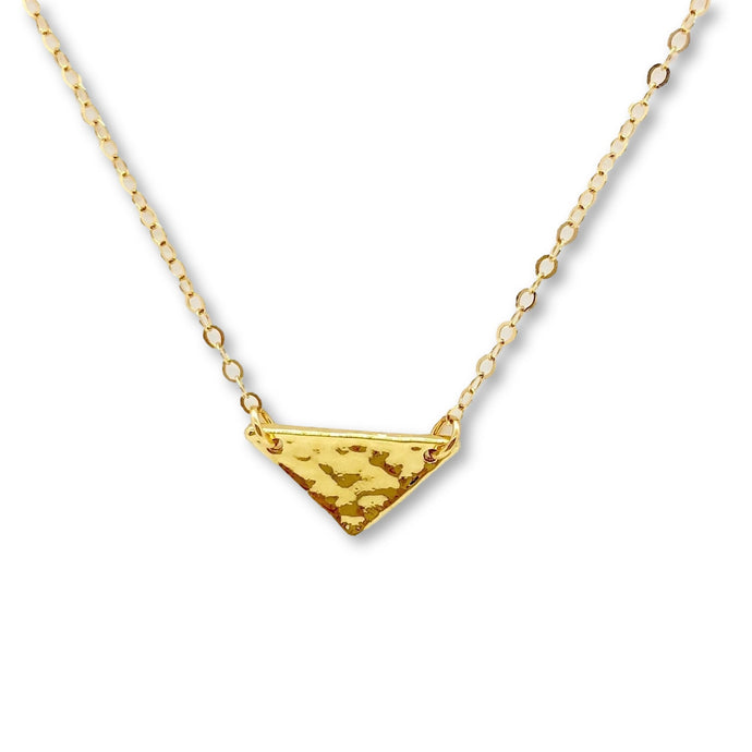 Hammered Gold Triangle Necklace - AR TodayCharm Jewelry Company