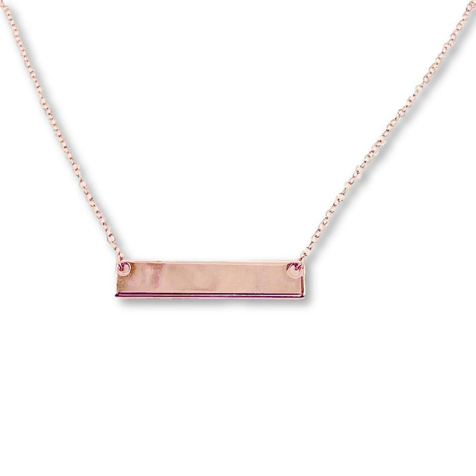 Rose Gold Nameplate Bar Necklace - AR TodayCharm Jewelry Company