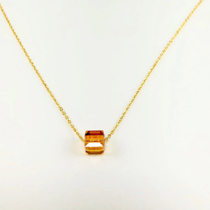 Topaz Crystal Cube Necklace - AR TodayCharm Jewelry Company