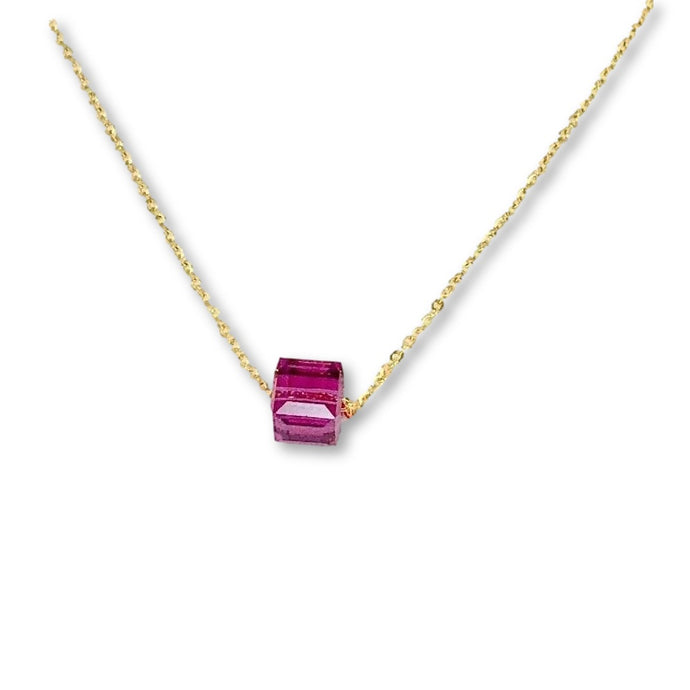 Fuchsia Crystal Cube Necklace - AR TodayCharm Jewelry Company