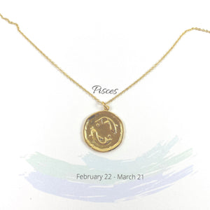 Pisces Zodiac Medallion Disk Necklace - AR TodayCharm Jewelry Company