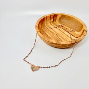 Rose Gold Heart Connector Necklace - AR TodayCharm Jewelry Company