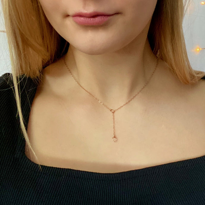 Whisper Thin Rose Gold Lariat - AR TodayCharm Jewelry Company