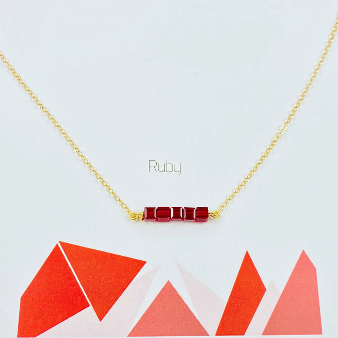 Ruby Red Cube Bar Necklace - AR TodayCharm Jewelry Company