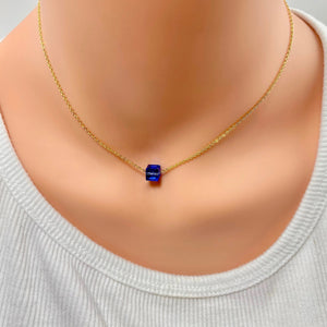 Sapphire Crystal Cube Necklace - AR TodayCharm Jewelry Company