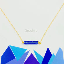 Load image into Gallery viewer, Sapphire Cube Bar Necklace - AR TodayCharm Jewelry Company