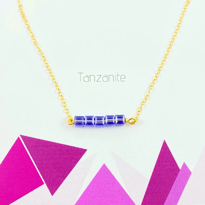 Tanzanite Cube Bar Necklace - AR TodayCharm Jewelry Company