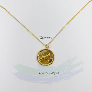 Taurus Zodiac Medallion Disk Necklace - AR TodayCharm Jewelry Company